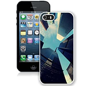 NEW Unique Custom Designed iPhone 5S Phone Case With Skyscrapers Fisheye View_White Phone Case