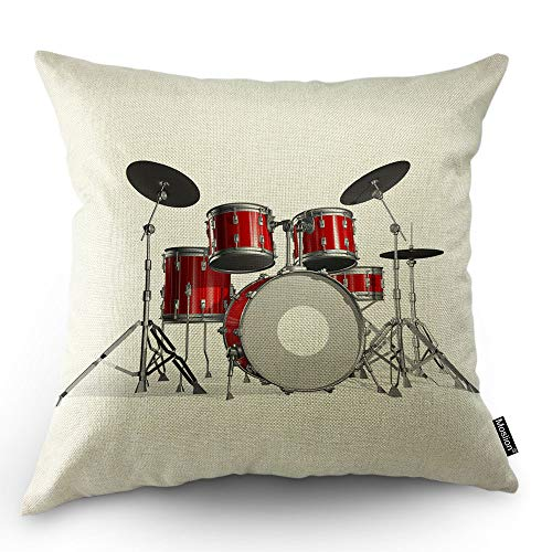 Moslion Music Pillows Rock N Roll Jazz Musical Instrument Drum Set for Show Concert Party Throw Pillow Cover Decorative Square Accent Cotton Linen Home Cushion Pillow Case 18X18 Inch Red Silver White ()