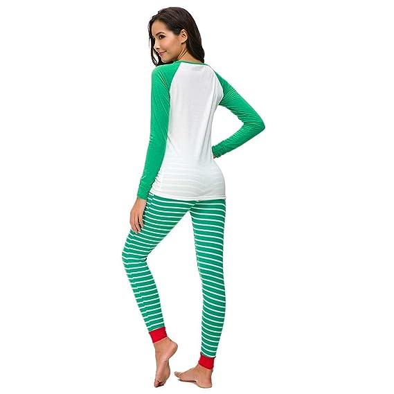Yvelands Mujer Pijama de Navidad PJs Set de Manga Larga Camiseta Pantalón Ropa de Dormir Ropa