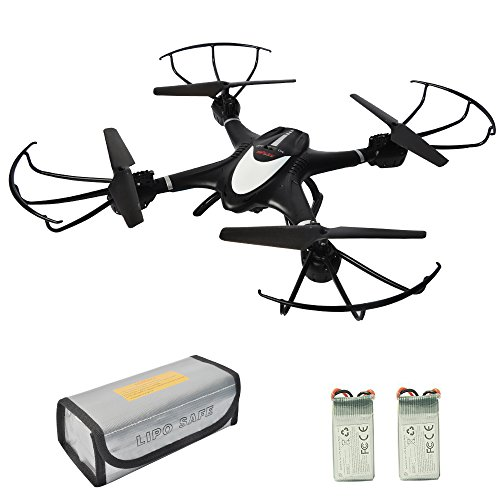 MJX X401H Wifi FPV Drone with Camera Llive Video Altitude Hold RC Quadcopter Kit 3D Roll Headless Mode One Key Return Real Time Transmission RTF Helicopter with Bonus Battery Fireproof Pouch Black