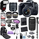 Canon EOS 77D 24.2 MP Digital SLR Camera with 18-55mm and 75-300mm Lenses, TTL Flash, 2 Piece 32GB Memory Cards and Accessory Bundle
