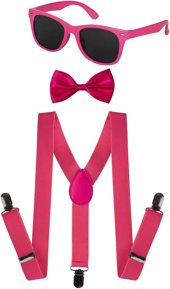 Bow-tie Accessory Dress Up America Kids Neon Suspender Green, Kids