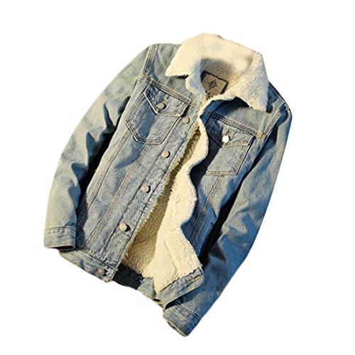 CRYYU-Men Lapel Faxu Lamb Wool Button Down Fleece Lined Windbreaker Denim Jacket Light Blue US L