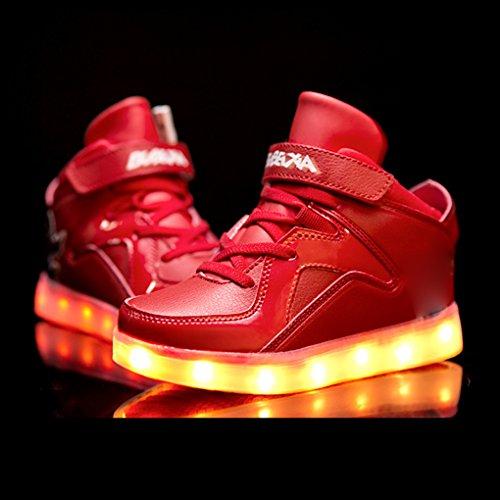 7 Farben blinken USB-Ladesportschuhe der Spinne Kinder Freizeitschuhe leuchtende Schuhe Größe: 37 EU