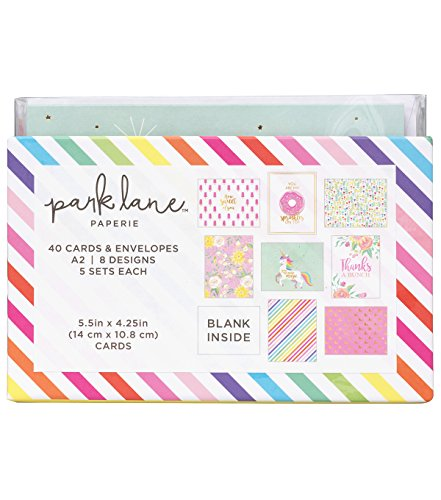 Park Lane 40 Cards & Envelope Sets Unicorns & Rainbows -