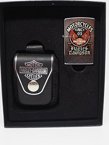 Gorgeous Harley Davidson Motorcycles Zippo Lighter Leather Pouch Gift Set