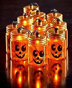 Halloween Mason Jar Jack-o-Lantern String Light Sets