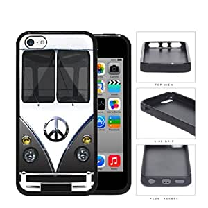 Hippy Mini Van with Peace Sign in Center Series Hard Rubber Cell Phone Case Cover iPhone 5c (gray)