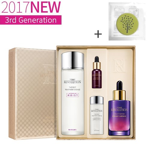 Night Essence - Missha Time Revolution the First Treatment Essence + Night Repair Science Activator Ampoule 4 pcs Set