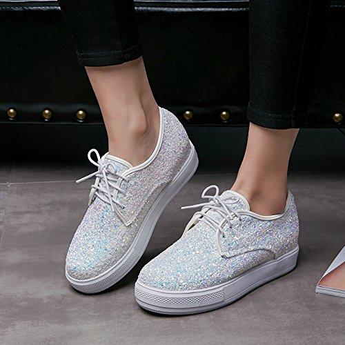 Wedge Shine White Shoes Sequins Lace Up Platform Heel Women's Show XHpdn6CC