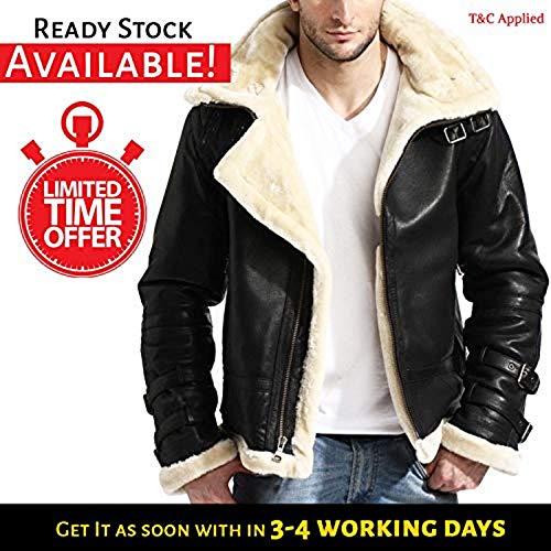 Men's Black Full Fur Removable Hood Genuine Sheepskin for sale  Delivered anywhere in USA