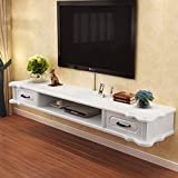 Floating TV Stand Wall Mounted Floating Audio/Video Console TV Cabinet Shelves Rack Media Entertainment Console Gaming Shelving Unit with Drawers and Open Shelf