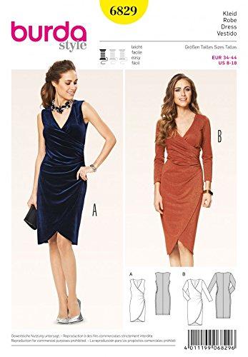 - Burda Ladies Easy Sewing Pattern 6829 Mock Wrap Tulip Skirt Dresses