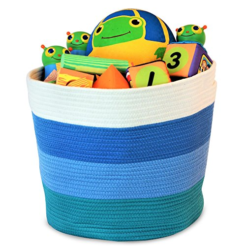 "OrganizerLogic Storage Baskets for Your Nursery Décor - Large 15"" x 15"" x 13"" Cotton Rope Storage Bin for Organizing Your Baby Room, Toys, Laundry, Blanket - Decorative Woven Basket (Blue)"