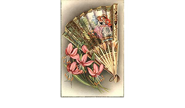 Spanish Painted Fan and Flowers Malaga, Spain Original Vintage Postcard at Amazons Entertainment Collectibles Store