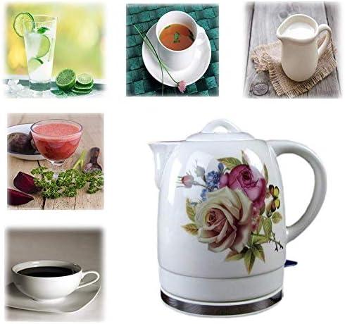 Wyxy Bouilloire électrique en céramique théière à Eau sans Fil, Pot de théière rétro 1.8L, 1200w Rapide à l'eau pour Le thé Rapide