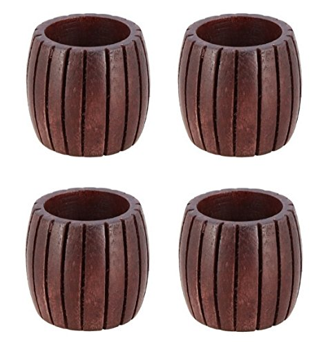 Shalinindia Handmade Grooved Wooden Napkin Rings Set of 4 for Table Decoration Ideas