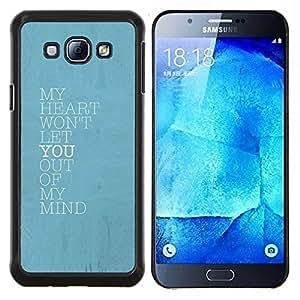 EJOOY---Cubierta de la caja de protección para la piel dura ** Samsung Galaxy A8 A8000 ** --azul mente corazón te amo cartel de bebé
