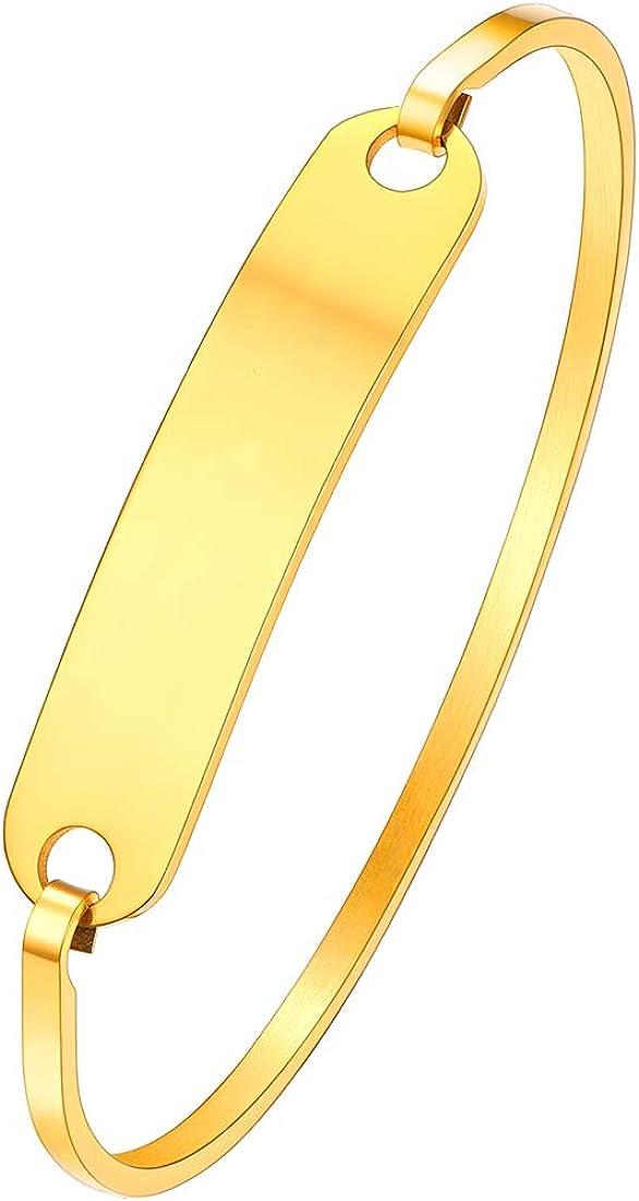 U7 Bracelet Jonc//Gourmette Femme avec Plaque Personnalisable Accessoire en Acier Inoxydable//Plaqu/é Or//Couleur Noir Bijoux Tendance Cadeau Parfait