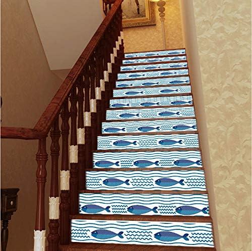 YFXGSTLI Peces Submarinos Escaleras De Animales Pegatinas Autoadhesivas PVC Escalera Mural Extraíble Arte Azulejos Pegatinas para Hotel Tienda Escalera Decoración 13 Unids 18 * 100 Cm: Amazon.es: Hogar
