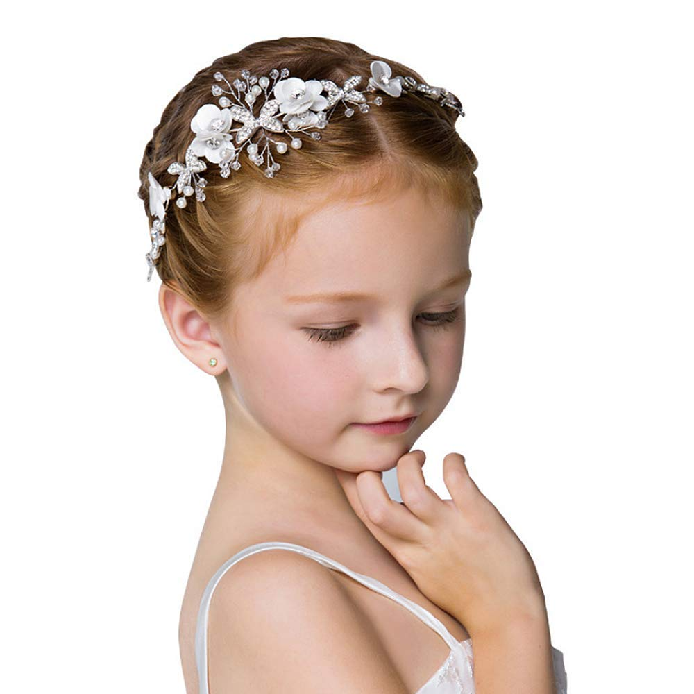 Campsis Cute Princess Wedding Headpiece White Flower Headband Pearl Hair Dress for Girl and Flower Girls by Campsis