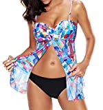 Tomlyws Womens Check Printed Slit Tankini Two Piece Tankini Top Swimwear Set XXL