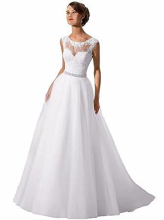 Holygift Women\'s A-line Soft Tulle Lace Sleeveless Chiffon Beaded ...