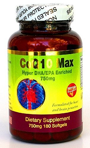 DOCTOR RECOMMENDED Hyper CoQ-10 MAX,w EPA/DHA + Flaxseed oil + Lecithin + Vitamin E, 180 Softgels ! by Nic Health