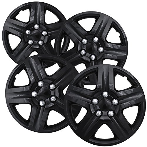 Hubcaps for 16 inch Standard Steel Wheels (Pack of 4) Wheel Covers - Snap On, Ice (2005 Black Chevy Equinox)
