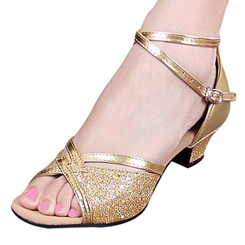 Ladies Glitter Leather Peep Toe Kitten Heel Latin Ballroom Dance Sandals Golden/Rubber Sole/5.5 Heel B31xKt9AlH