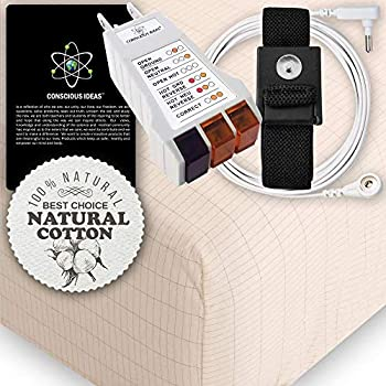 Image of Earthing Grounding King Size Fitted Matress Sheet (Beige) 400TC Pure Silver Thread Conductive Earth therapy bedding Blanket, Natural Energy | 95% Organic Cotton For Better Sleep | Connection Cord Home and Kitchen
