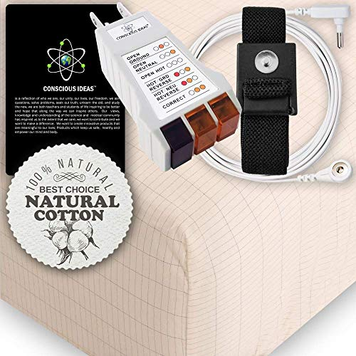 Earthing Grounding King Size Fitted Matress Sheet (Beige) 400TC Pure Silver Thread Conductive Earth therapy bedding Blanket, Natural Energy | 95% Organic Cotton For Better Sleep | Connection - Sheet Fitted 400tc