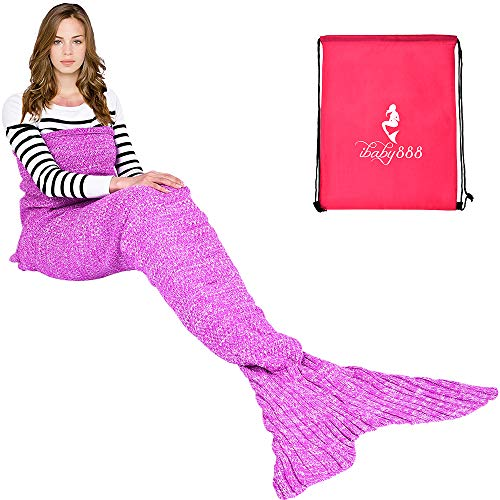 """Price comparison product image Handmade Mermaid Tail Blanket Crochet , iBaby888 All Seasons Warm Knitted Bed Blanket Sofa Quilt Living Room Sleeping Bag for Kids and Adults (72.8""""x35.5"""", Purple Pink1)"""