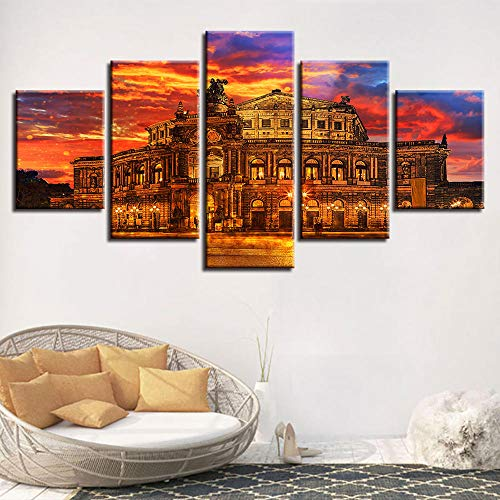 Yyjyxd Canvas HD Prints Pictures Living Room Wall Art 5 Pieces Architecture Painting Sunset Poster Modular Home Decor Framework-12x16/24/152inch,with Frame