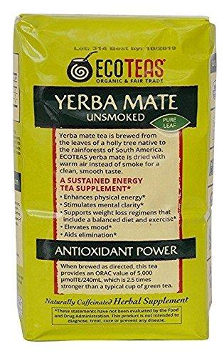 ECOTEAS Organic Yerba Mate - Pure Leaf 1 Pound (Pack of 6)