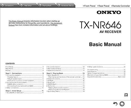 Onkyo Integra TX-NR646 Receiver Owners Instruction Manual Reprint [Plastic Comb]