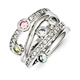 Sterling Silver Multicolored CZ Ring Size 6
