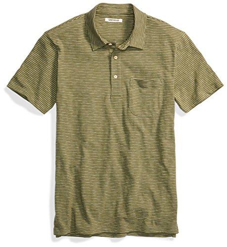 Green Striped Polo Shirt - Goodthreads Men's Lightweight Striped Slub Polo, Bronze Green/Olive/White Stripe, X-Large