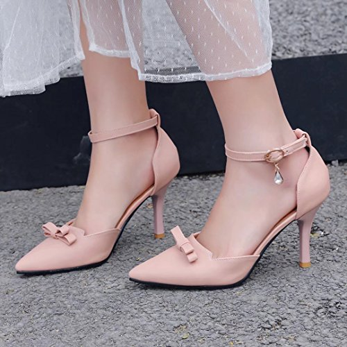 AIYOUMEI Damen Knöchelriemchen Pumps mit Schleife und Strass Stilettos High Heels Abend Schuhe Rosa