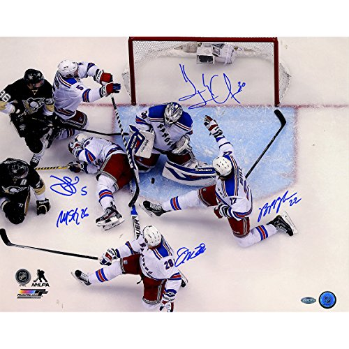 New York Rangers Multi Autographed Key Moment In Game 7 Vs. Penguins 16 Inch X 20 Inch Photo 5 Signatures