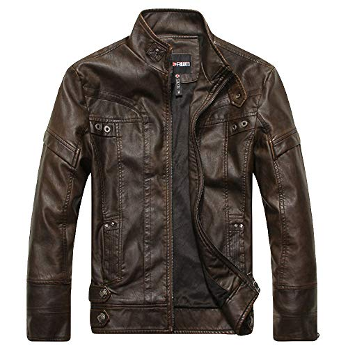 (vermers Men Imitation Leather Coat Clearance, Men's Fashion Jacket Pure Color Zipper Stand Collar Outwear Tops(L, Brown))