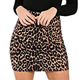 BAOHOKE Fashion Leopard Print High Waist Skinny Skirts for Women,Casual Trend Girls Pencil Hip Mini Dress(Brown,M)