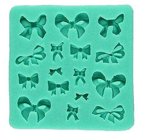 Jeffyo Molde de silicona para fondant, moldes de azúcar, decoración de tartas, 16 lazos de cavidad, color al azar con accesorios: Amazon.es: Hogar