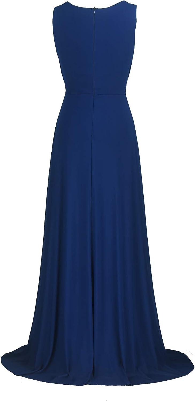 /ärmellos Licoco Damen-Maxi-Abendkleid lang halb-formell Schwarz Perlen