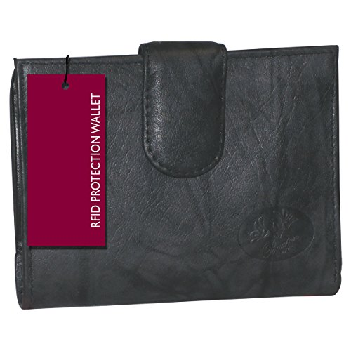 Buxton Heiress Leather Double Cardex Wallet 15 Credit Card Slots (Black-RFID Protected)