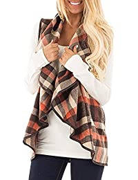 Womens Sleeveless Plaid Vest Open Front Lapel Cardigan Jackets with Pockets