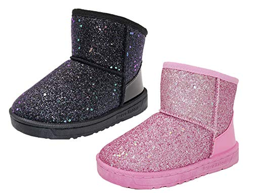 (Elcssuy Girl's Warm Winter Sequin Waterpoof Outdoor Princess Snow Boots House Slippers Flat Shoes(Toddler/Little Kid) P32)