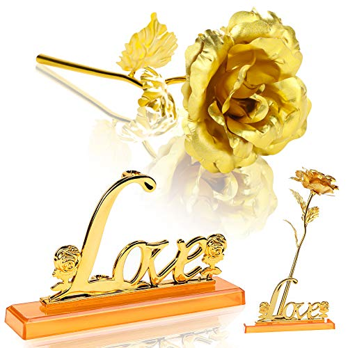 Koogel 24K Forever Gold Rose, Rose Flower with Love Stand Gift Box for Lover Mother Friends Valentines Day Mothers Day Thanksgiving Birthday