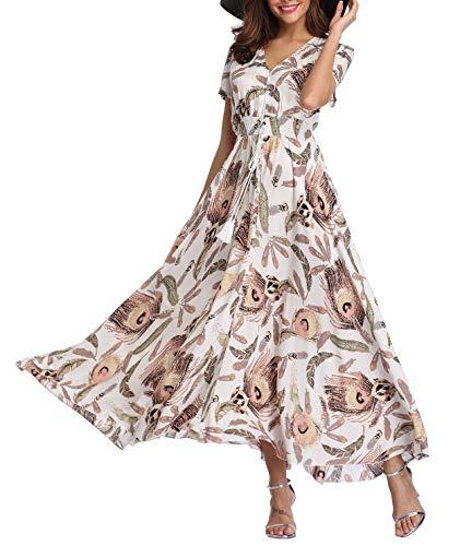 Women's Floral Maxi Dresses Boho Button up Split Beach Party Long Dress