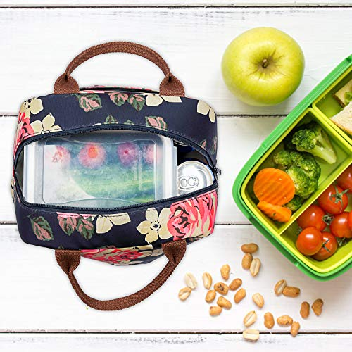 LOKASS Lunch Bag Cooler Bag Women Tote Bag Insulated Lunch Box Water-resistant Thermal Lunch Bag Soft Leak Proof Liner Lunch Bags for women/Picnic/Boating/Beach/Fishing/School/Work (Peony) by LOKASS (Image #2)